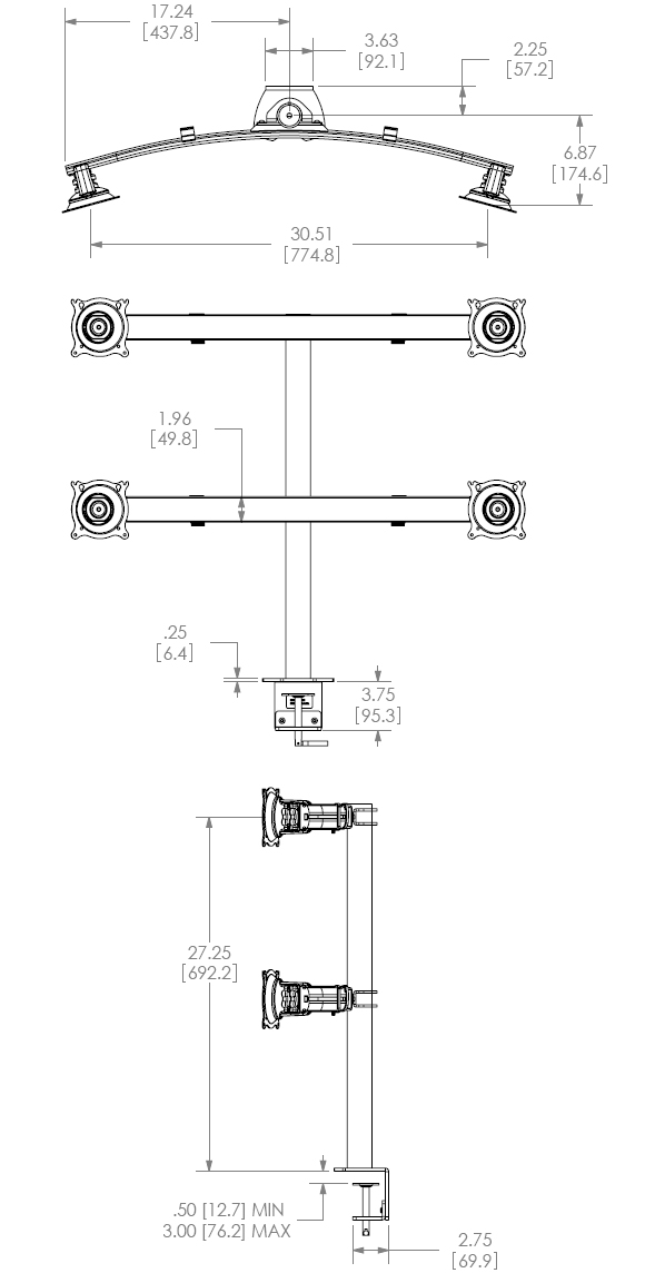 Technical Drawing for Chief Widescreen Quad Monitor Desk Clamp Mount - KTC445B or KTC445S