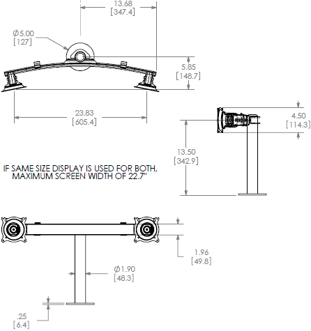Technical Drawing for Chief Dual Horizontal Grommet Mount KTG220B or KTG220S