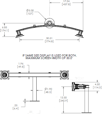 Technical Drawing for Chief Widescreen Dual Horizontal Grommet Mount KTG225B or KTG225S