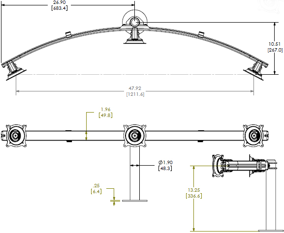Technical Drawing for Chief Widescreen Triple Monitor Stand, Grommet Mount KTG325B