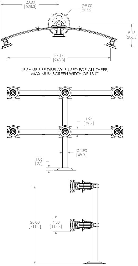 Technical Drawing for Chief KTG330B Flat Panel Six Monitors Grommet Desk Mount
