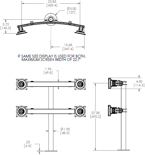 Technical Drawing for Chief Quad Monitor Grommet Mount KTG440B or KTG440S