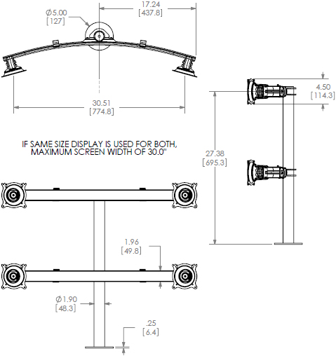 Technical Drawing for Chief Widescreen Quad Monitor Grommet Mount KTG445B or KTG445S