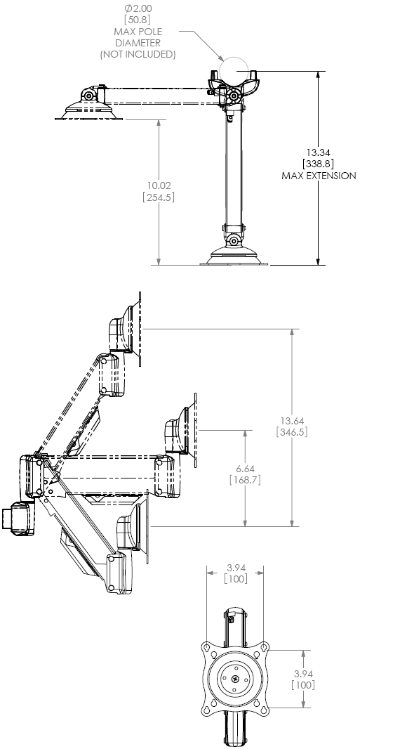Technical Drawing for Chief KPV110S or KPV110B Pole Mount Flat Panel Height Adjustable LCD Arm