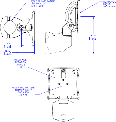 Technical drawing for Chief K0P100 Kontour K0 Pole Mount with Extreme Tilt Pitch/Pivot