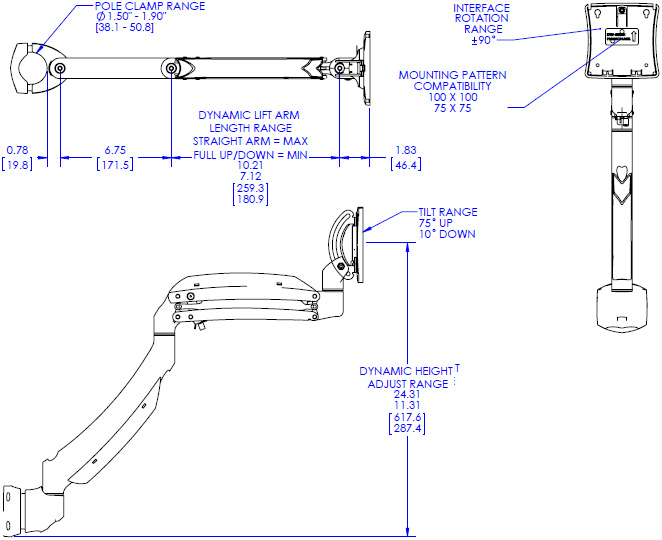 Technical Drawing for Chief Kontour Dynamic Pole Mount, 1 Monitor - K1P120B or K1P120S