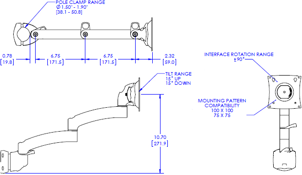 Technical Drawing for Chief Kontour Pole Mount Articulating Arm, 1 Monitor - K2P120B or K2P120S