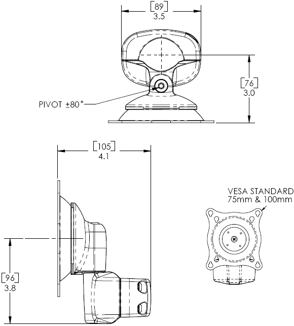 Technical drawing for Chief KPP110B or KPP110S Pole Mount Flat Panel Pivot or Tilt LCD Arm