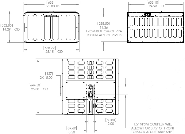 Technical Drawing of Chief PG3A or PG3AW Extra Large Projector Security Cage