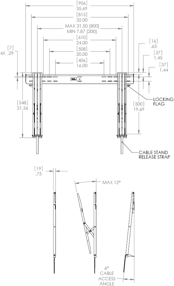 "Technical Drawing for Chief LTTU Thinstall Tilt Wall Mount for 37""-63"" Displays"