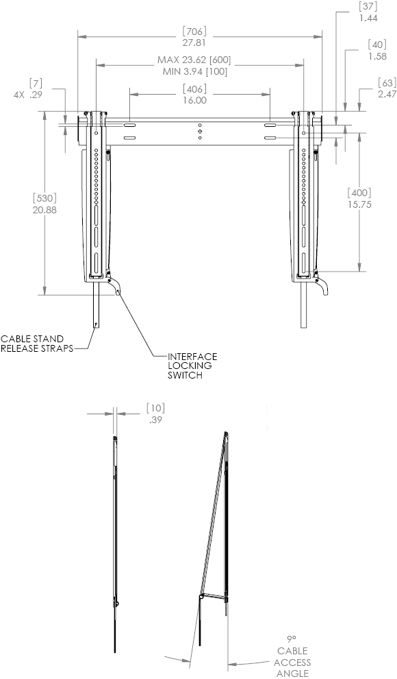 "Technical Drawing for Chief MSTU Thinstall Tilt Wall Mount for 26""-47"" Displays"