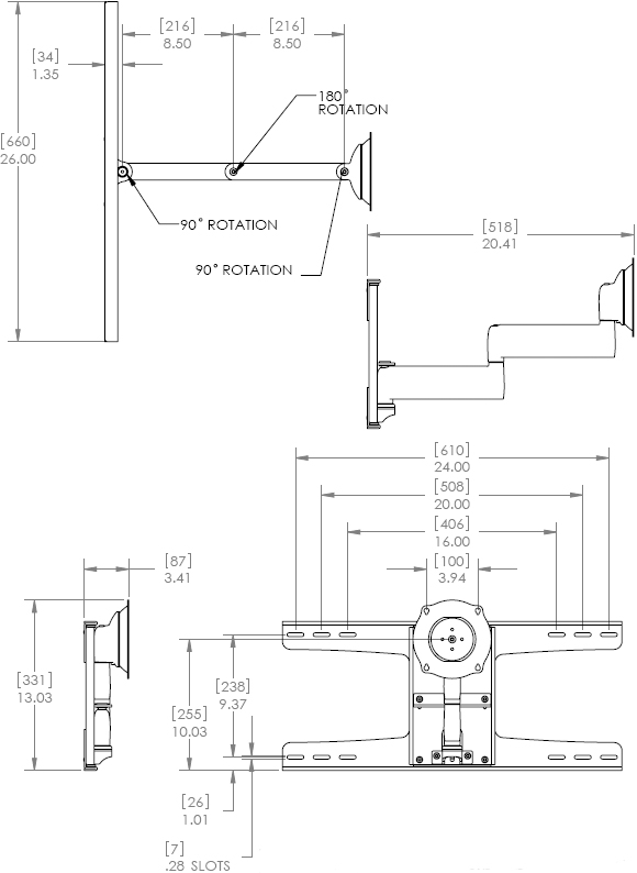 Technical Drawing for Chief JWDSK210 Steel Stud Dual Swing Arm Wall Mount