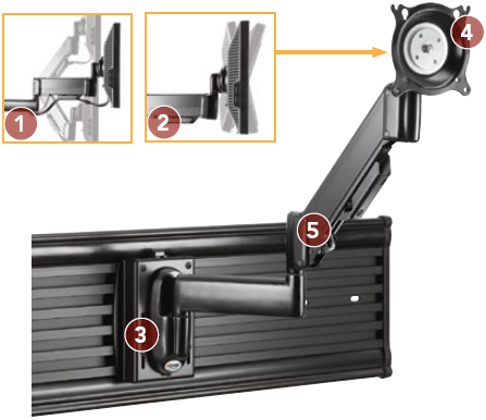 Chief KSG110 Slat Wall Mount Height Adjustable Swing LCD Monitor Arm