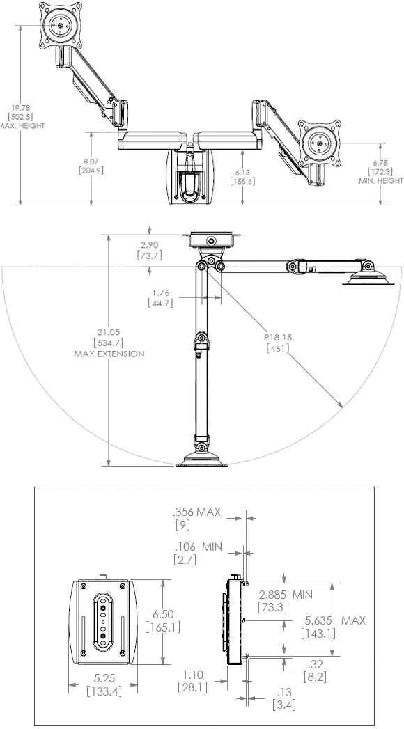 Technical Drawing for Chief KSY220 Universal Slat Wall Height Adjustable Dual Monitor Mount