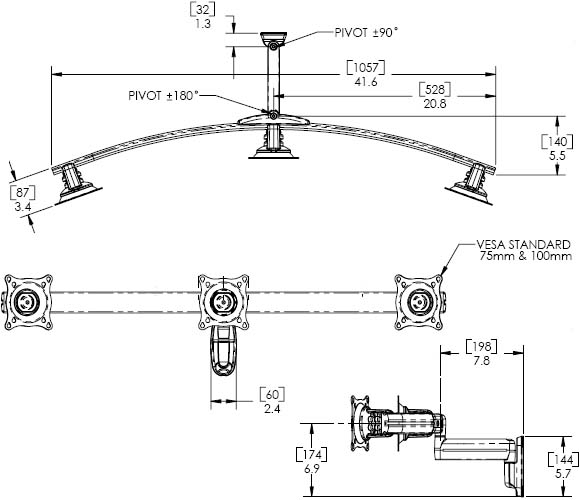 Technical Drawing for Chief Single Arm Wall Mount, Triple Monitor KWS320B or KWS320S