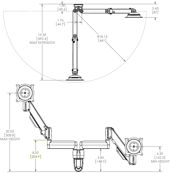 Drawing for Chief KWY220S or KWY220B Dual Wall Mount Height Adjustable LCD Monitor Arm