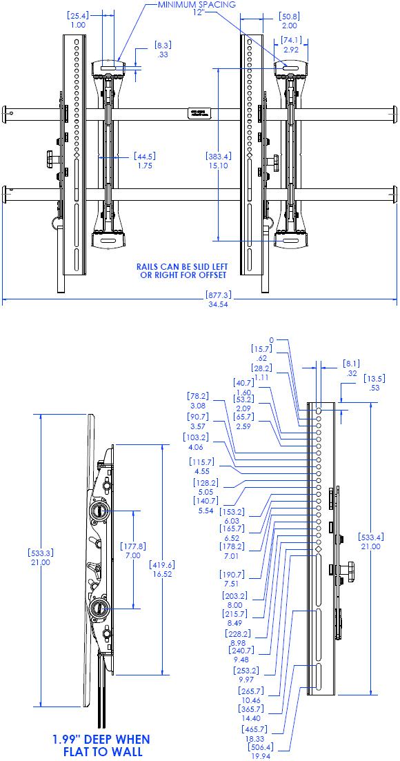 Chief Ltmu Large Fusion Micro Adjustable Tilt Video Wall Mount
