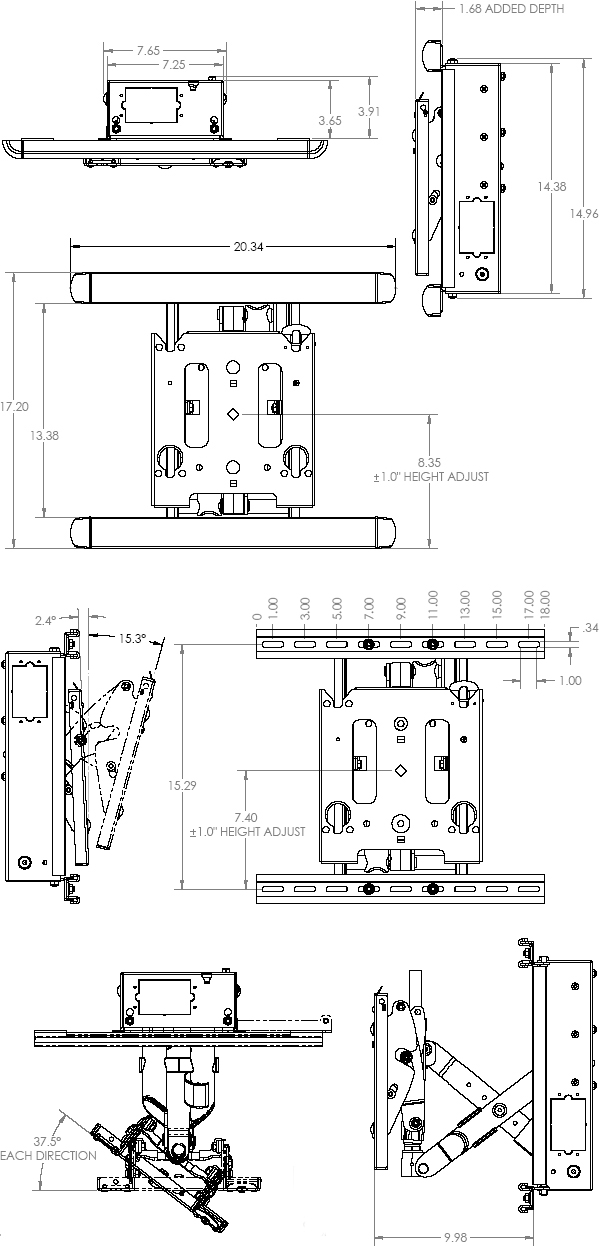 Technical Drawing of Chief MIWRFVB Medium Low Profile In-Wall Swing Arm Mount