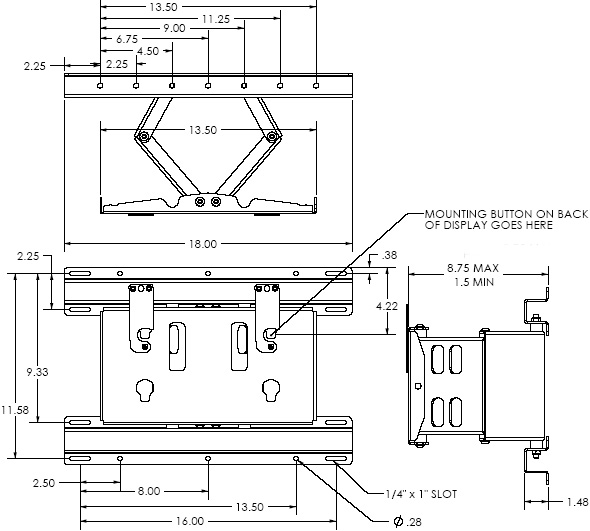 "Technical Drawing of Chief MPW6000B Medium (30-55"") Swing Arm Wall Mount"