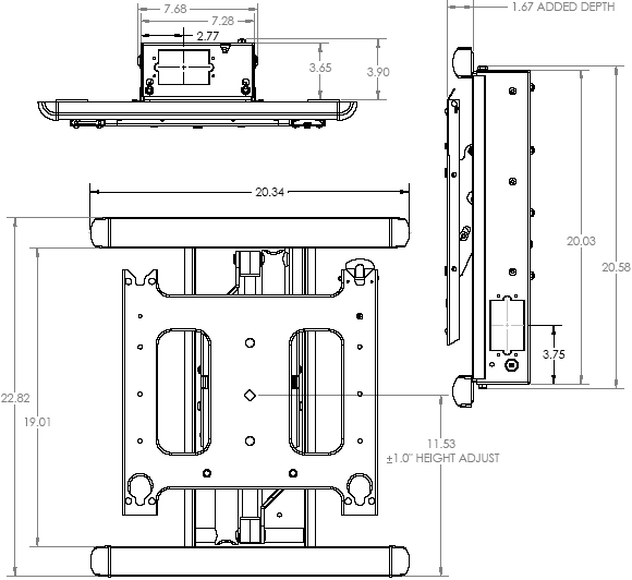 Technical Drawing of Chief PIWRF-2000 Large Low Profile In-Wall Swing Arm Mount