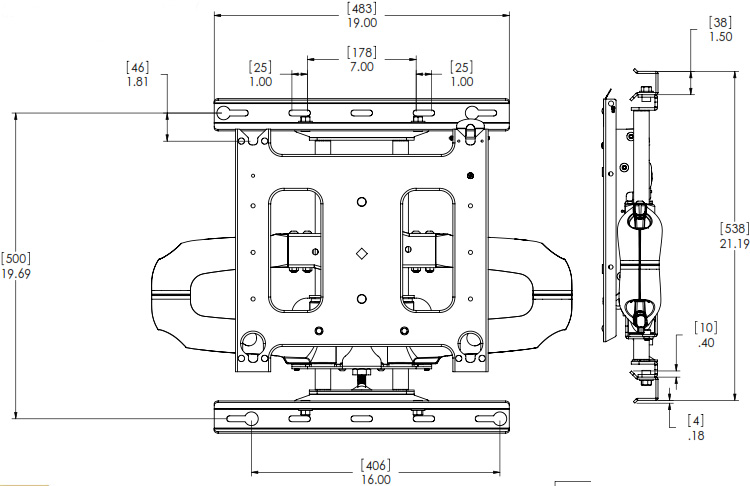 Technical Drawing of Chief PNR-2000 Large Swing Arm Wall Mount