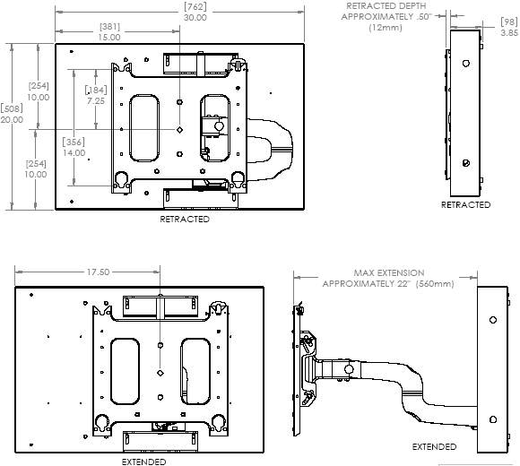 Technical Drawing of Chief PWRIW-2000 Large Low Profile In-Wall Swing Arm Mount