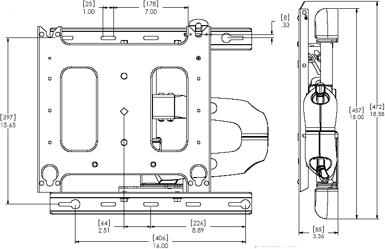 Technical Drawing of Chief PWR-2000 Large Swing Arm Wall Mount