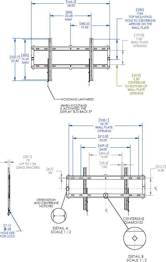Chief Rxf2 X Large Low Profile Hinged Fixed Wall Mount 40