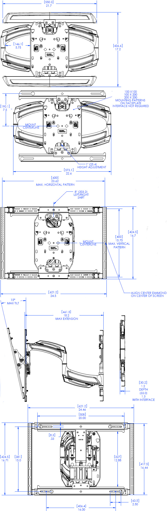 Technical Drawing of Chief TS-318TU Medium Thinstall Dual Swing Arm Wall Mount