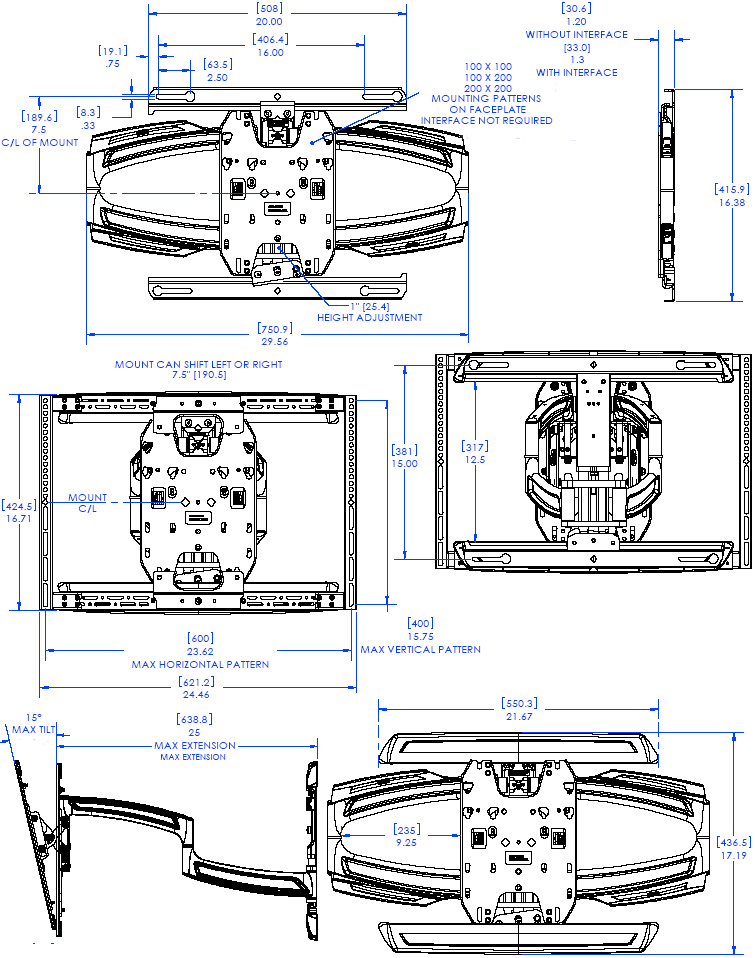 Technical Drawing of Chief TS-325TU Medium Thinstall Dual Swing Arm Wall Mount