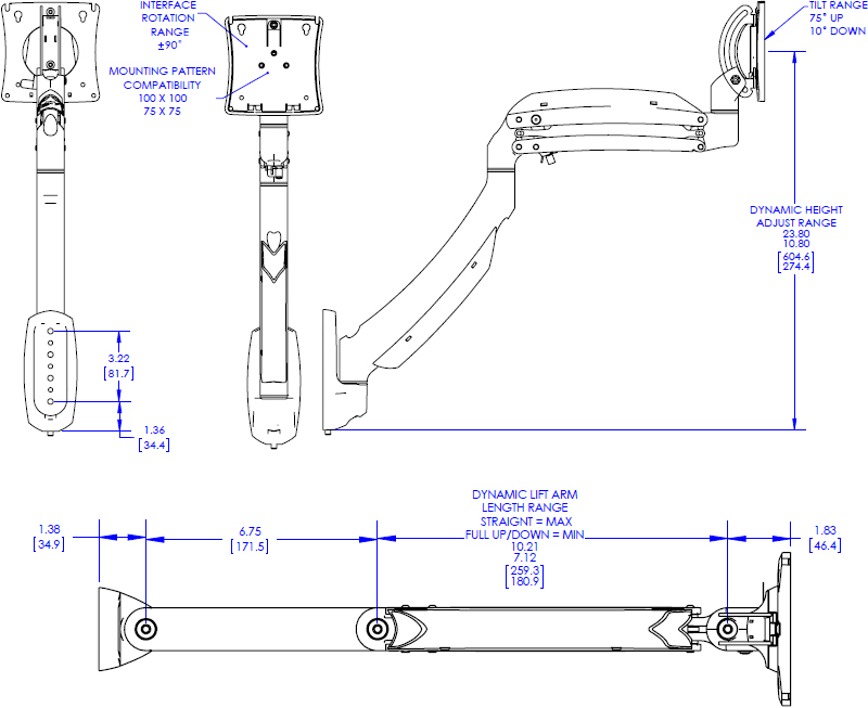 Technical Drawing for Chief Kontour Dynamic Wall Mount, 1 Monitor - K1W120