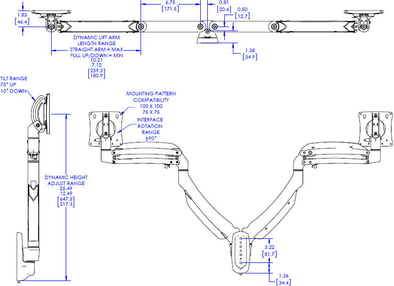 Technical Drawing for Chief Kontour Dynamic Wall Mount, 2 Monitors K1W220B or K1W220S