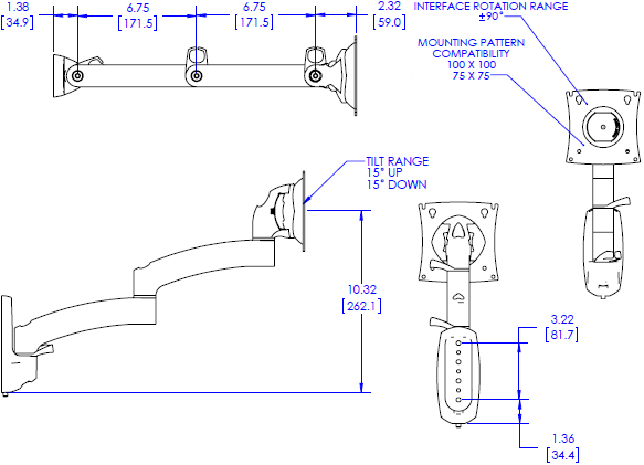 Technical Drawing for Chief Kontour Wall Mount Swing Arm, 1 Monitor - K2W120B or K2W120S