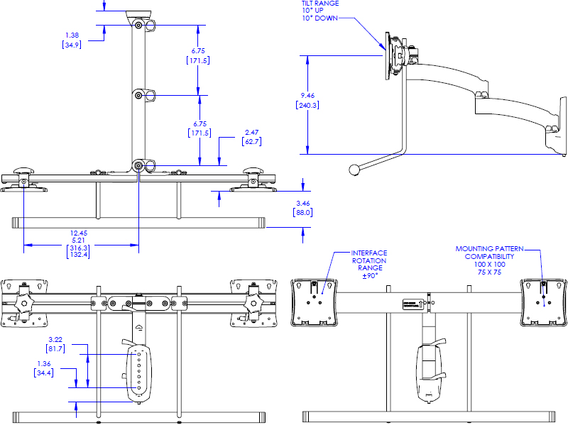 Technical Drawing for Chief Kontour Wall Mount Swing Arm, Dual Monitor Array K2W22HB or K2W22HS