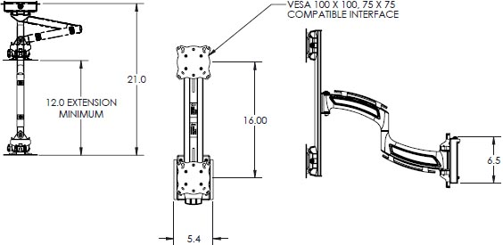 Technical Drawing for Chief Kontour 1x2 Vertical Focal Depth Adjustable Array - K4S120B