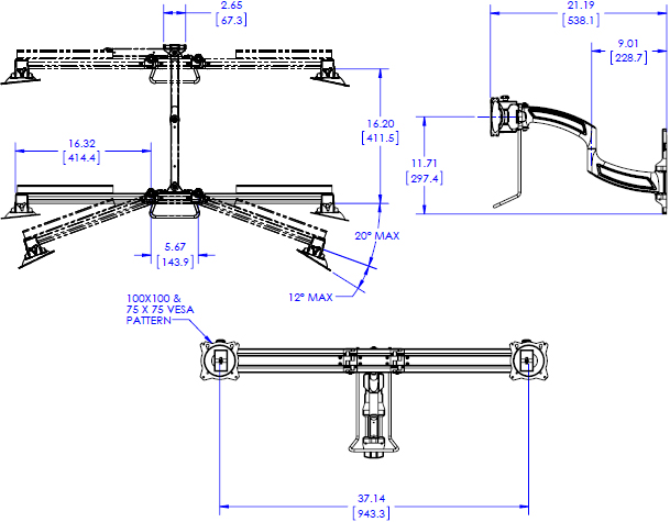 Technical Drawing for Chief K4W210B KONTOUR K4 2x1 Wall Mounted Array - Horizontal