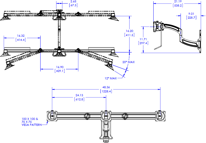 Technical Drawing for Chief K4W310B KONTOUR K4 3x1 Wall Mounted Array - Horizontal