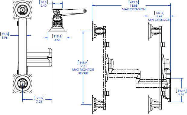 Technical Drawing for Chief KWD230 Dual Arm Wall Mount, Vertical Dual Monitor