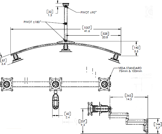 Technical Drawing for Chief Dual Arm Wall Mount, Triple Monitor KWD320B or KWD320S