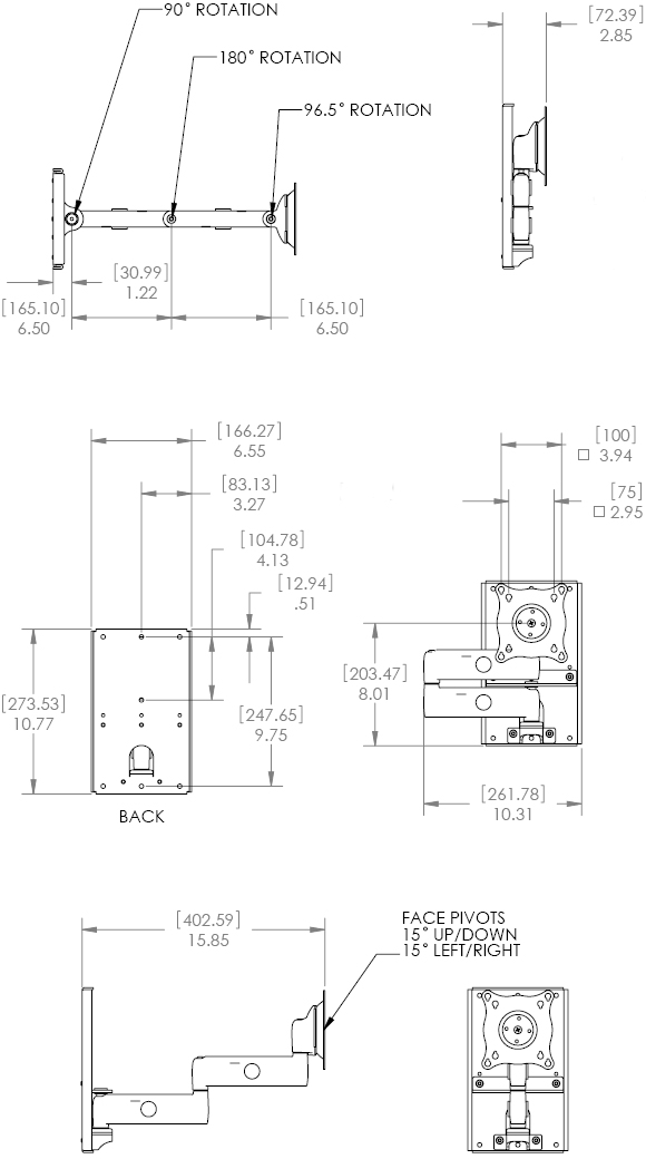 Technical Drawing for Chief KWDSK110 Wall Mount Single Steel Stud Monitor Arm