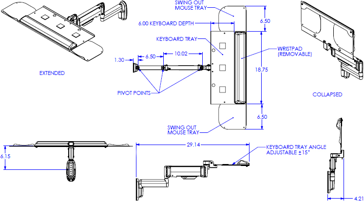 Technical Drawing for Chief KWK110B Height-Adjustable Keyboard & Mouse Tray Wall Mount