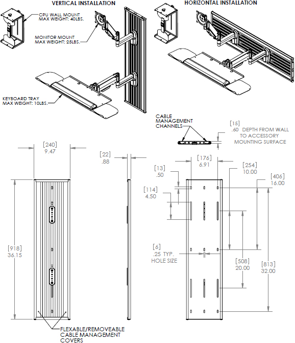 Technical Drawing for Chief KWT110B All-in-One Monitor Workstation Wall Mount - Black