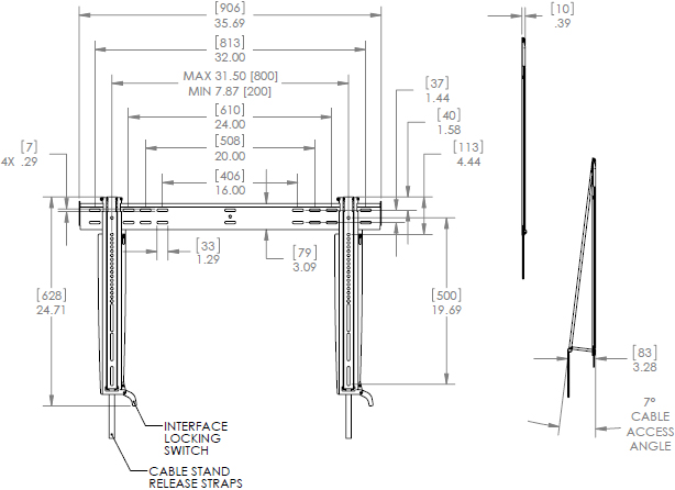 Technical Drawing for Chief LSTU Large Thinstall Ultra-Thin Fixed Wall Display Mount