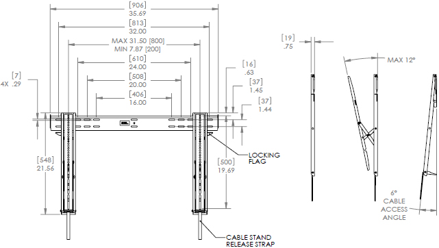 Technical Drawing for Chief LTTU Large Thinstall Ultra-Thin Tilt Wall Mount (32-65