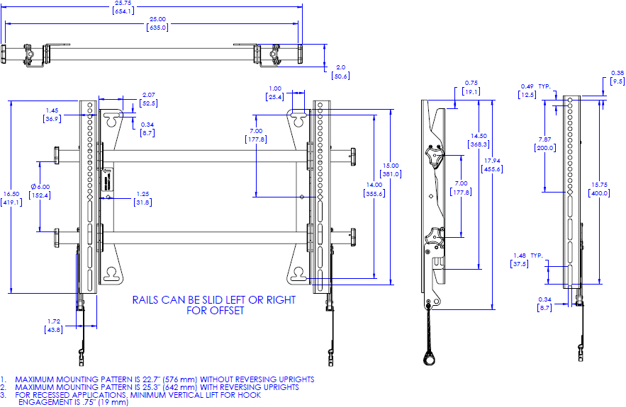 Technical Drawing for Chief MSA1U Medium Fusion Fixed Wall Display Mount
