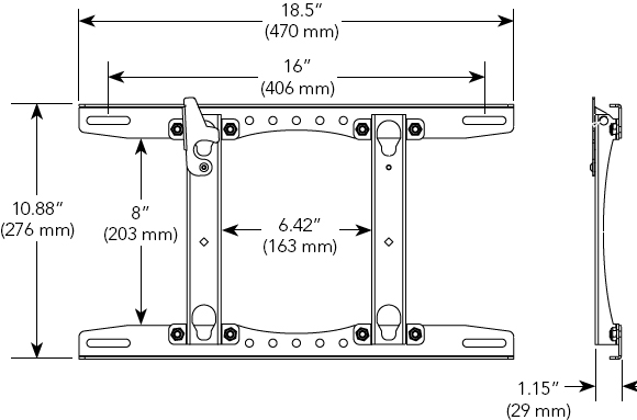 Technical Drawing for Chief MSRV Universal Fixed Wall Mount