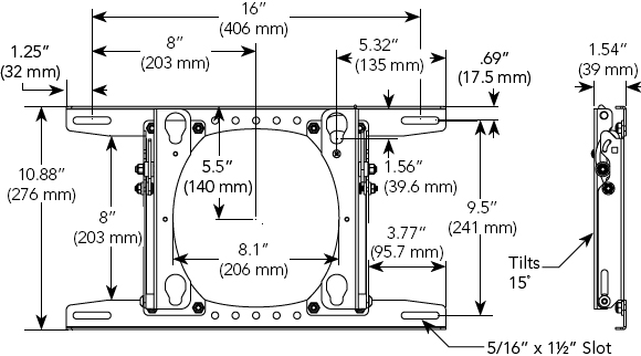 Technical Drawing for Chief MTRU Tilting Wall Mount for Medium sized Flat Panel Displays