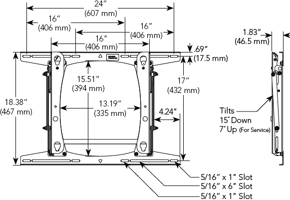 Technical Drawing for Chief PLPU Large Flat Panel Tilting Wall Mount