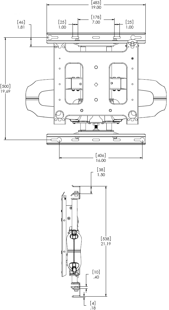 Technical Drawing for Chief PNRUS Wall Mount Universal Flat Panel Dual Swing Arm
