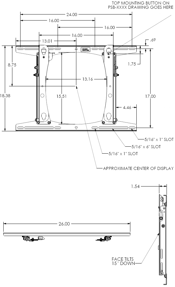 Technical Drawing for Chief RROU Large Flat Panel Lockable Tilt Wall Mount
